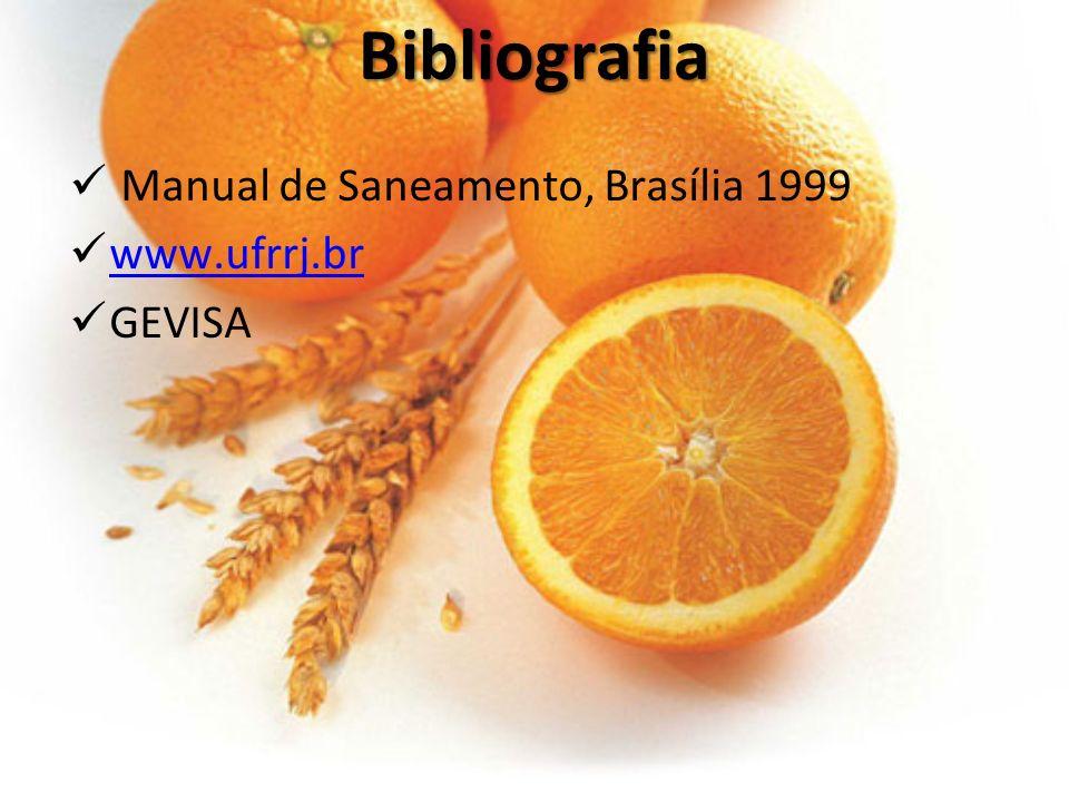 Bibliografia Manual de Saneamento, Brasília 1999 www.ufrrj.br GEVISA