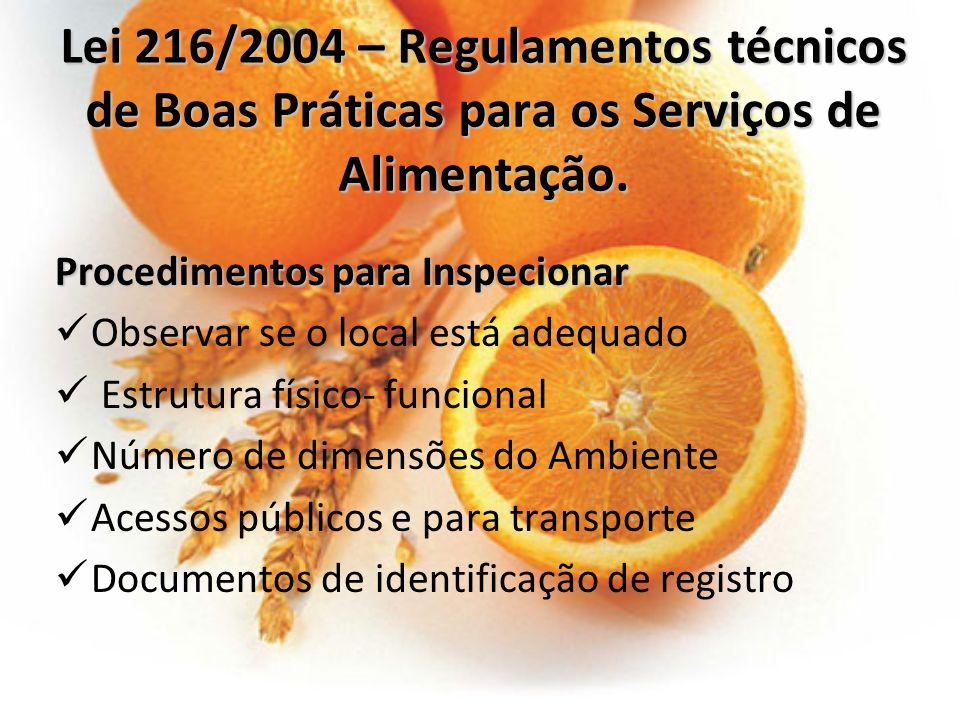 Lei 216/2004 – Regulamentos técnicos de Boas Práticas para os Serviços de Alimentação. Procedimentos para Inspecionar Observar se o local está adequad