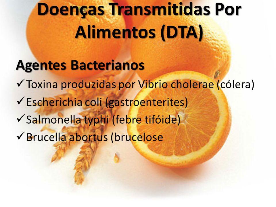 Agentes Químicos Tóxicos Cobre Mercúrio Carbonatos/organofosforados Agentes Fúngicos Agentes Fúngicos Amanita muscarina ou Agaricus muscaria (ácido ibotênico e muscimol), Agentes Virais Poliovírus (poliomielite) Vírus hepatite A e B (hepatites A e B) Doenças Transmitidas Por Alimentos (DTA) Doenças Transmitidas Por Alimentos (DTA)