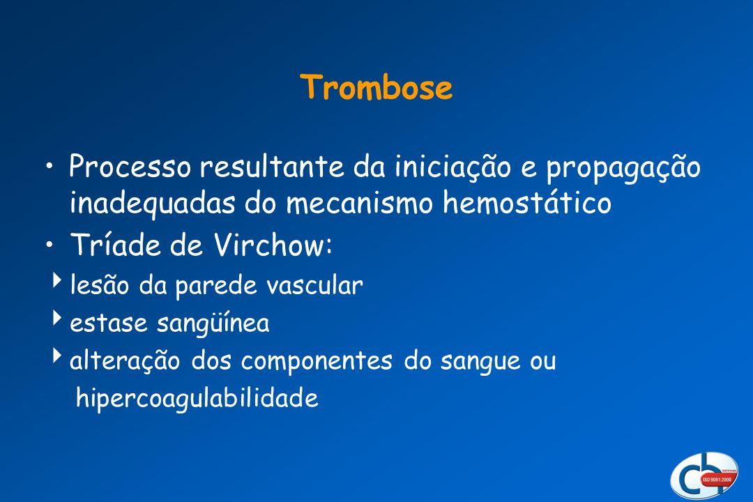 Trombose Processo resultante da iniciação e propagação inadequadas do mecanismo hemostático Tríade de Virchow: lesão da parede vascular estase sangüín