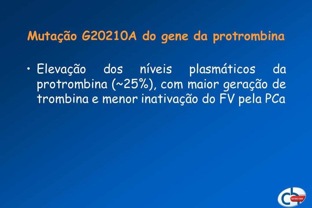 Elevação dos níveis plasmáticos da protrombina (~25%), com maior geração de trombina e menor inativação do FV pela PCa Mutação G20210A do gene da prot