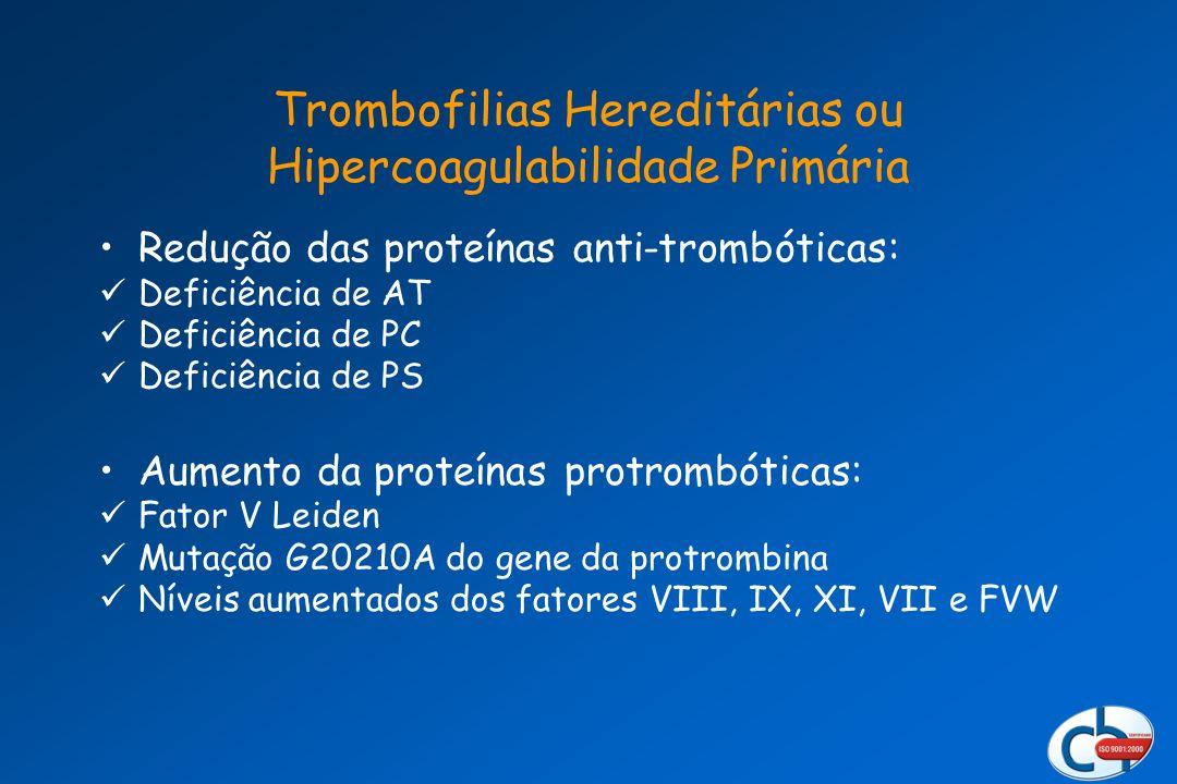 Redução das proteínas anti-trombóticas: Deficiência de AT Deficiência de PC Deficiência de PS Aumento da proteínas protrombóticas: Fator V Leiden Muta