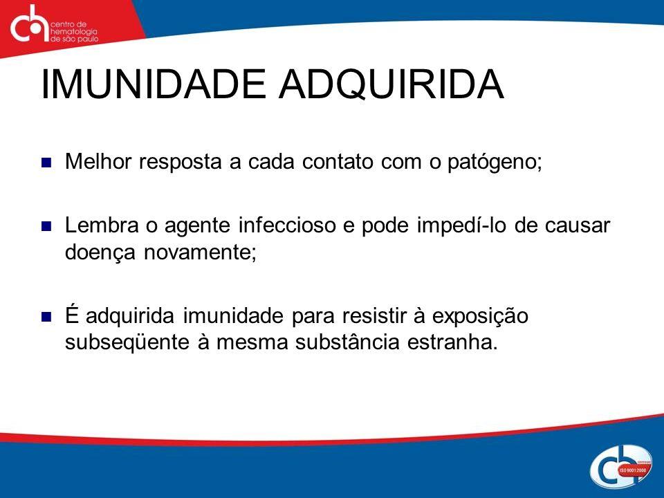 IMUNIDADE ADQUIRIDA Melhor resposta a cada contato com o patógeno; Lembra o agente infeccioso e pode impedí-lo de causar doença novamente; É adquirida