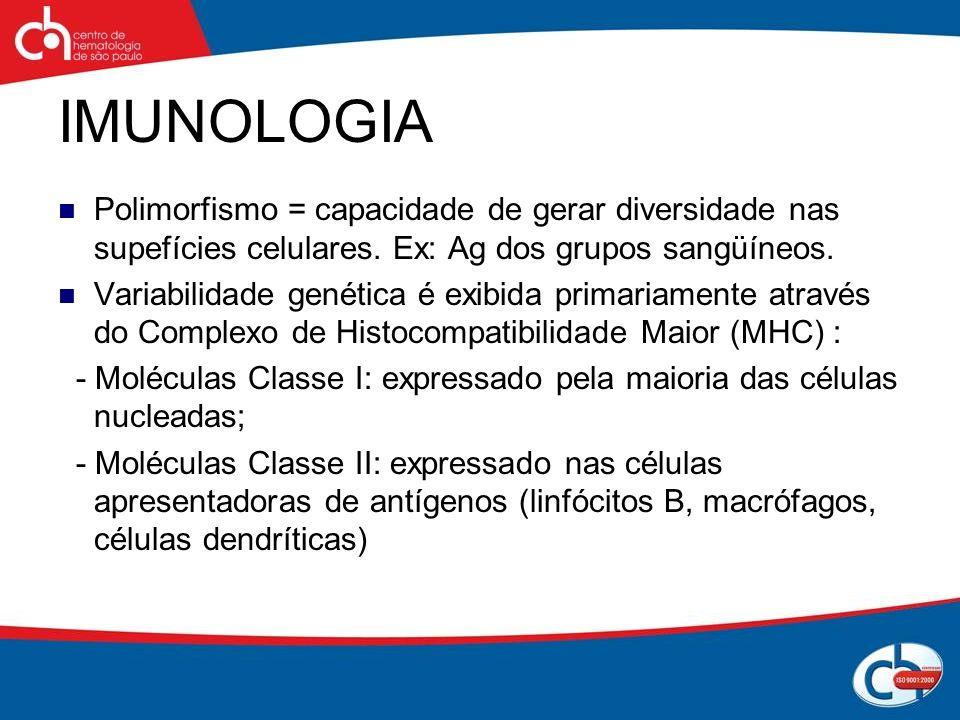 IMUNOLOGIA Polimorfismo = capacidade de gerar diversidade nas supefícies celulares. Ex: Ag dos grupos sangüíneos. Variabilidade genética é exibida pri