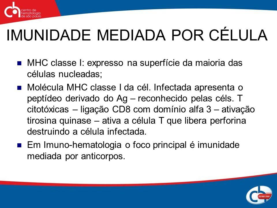 IMUNIDADE MEDIADA POR CÉLULA MHC classe I: expresso na superfície da maioria das células nucleadas; Molécula MHC classe I da cél. Infectada apresenta