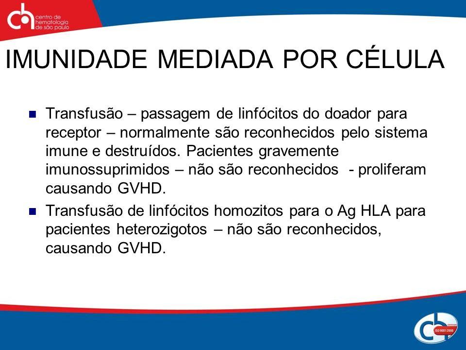 IMUNIDADE MEDIADA POR CÉLULA Transfusão – passagem de linfócitos do doador para receptor – normalmente são reconhecidos pelo sistema imune e destruído