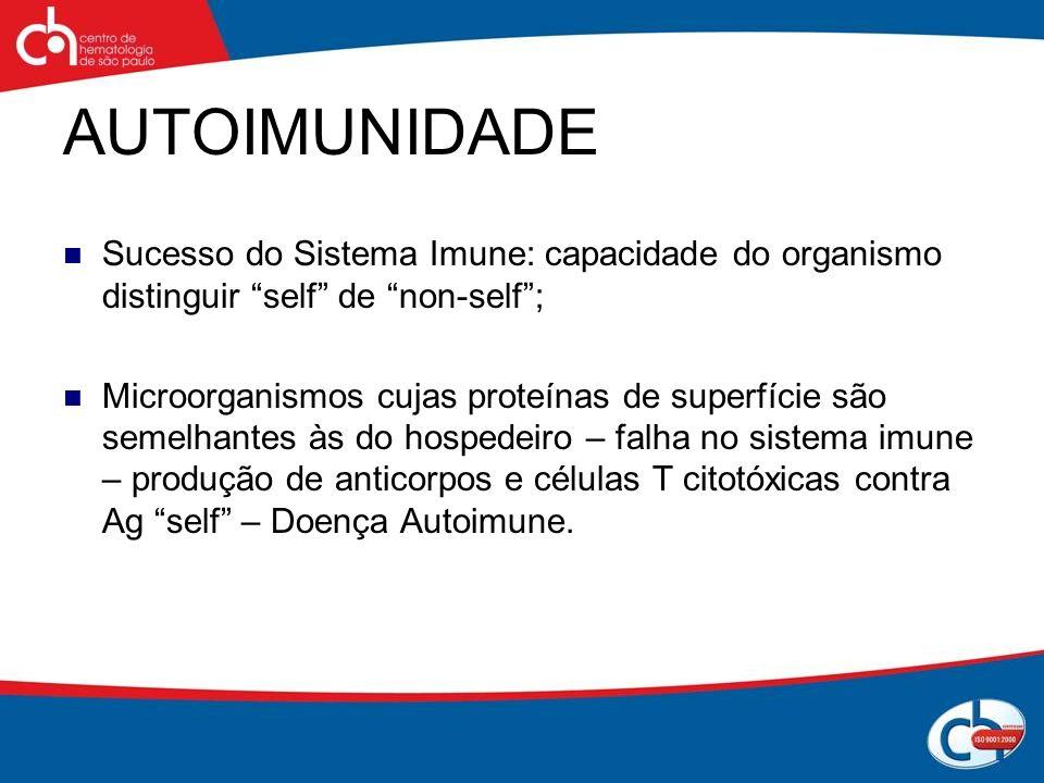 AUTOIMUNIDADE Sucesso do Sistema Imune: capacidade do organismo distinguir self de non-self; Microorganismos cujas proteínas de superfície são semelha