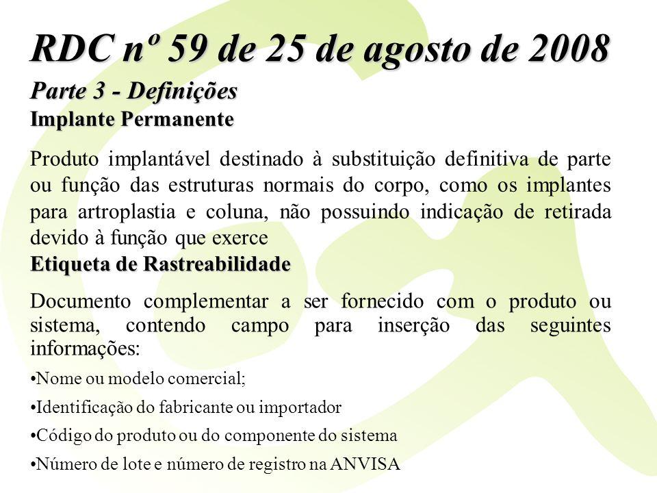 Parte 3 - Definições RDC nº 59 de 25 de agosto de 2008 Implante Permanente Produto implantável destinado à substituição definitiva de parte ou função