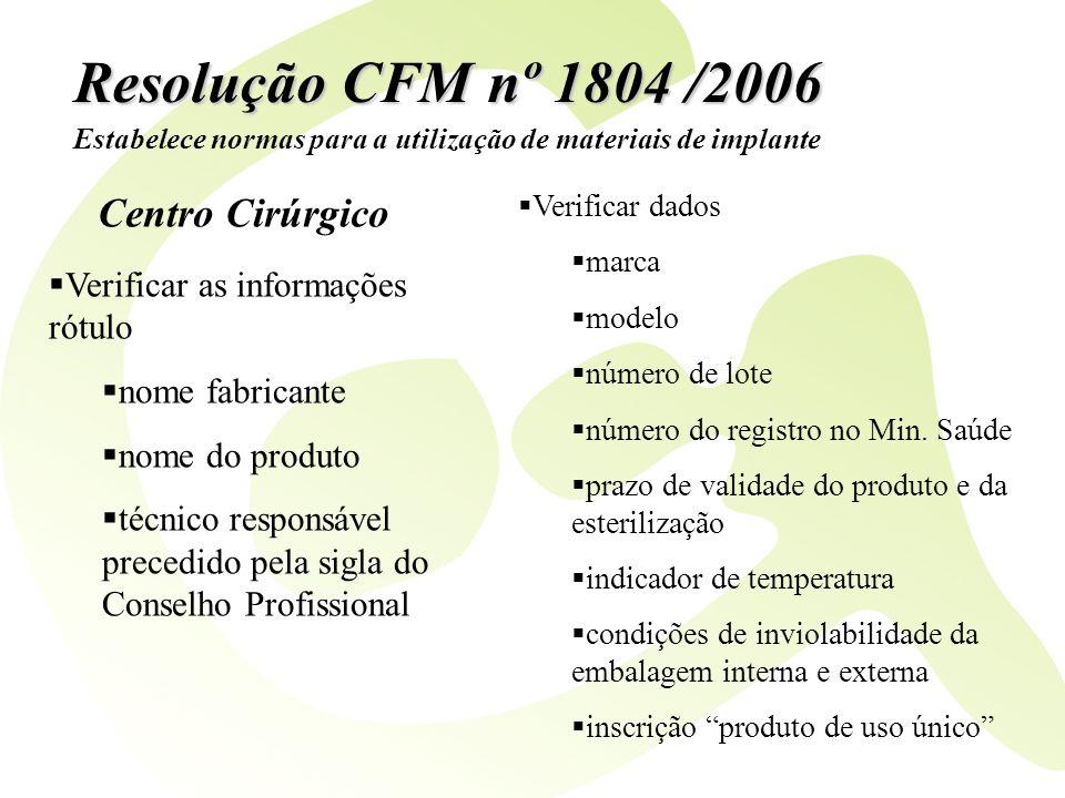 Resolução CFM nº 1804 /2006 Verificar as informações rótulo nome fabricante nome do produto técnico responsável precedido pela sigla do Conselho Profi