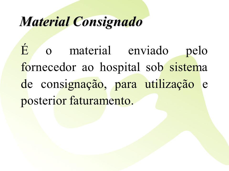 Material Consignado É o material enviado pelo fornecedor ao hospital sob sistema de consignação, para utilização e posterior faturamento.