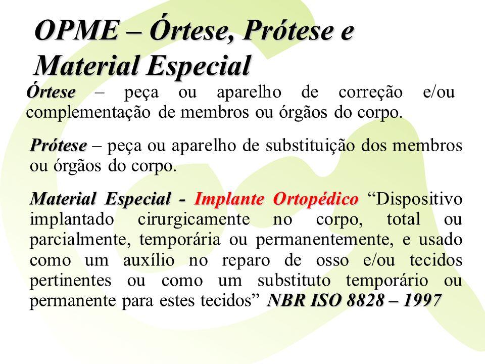 OPME – Órtese, Prótese e Material Especial Órtese Órtese – peça ou aparelho de correção e/ou complementação de membros ou órgãos do corpo. Prótese Pró