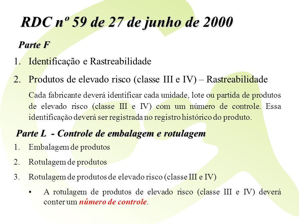 Parte F RDC nº 59 de 27 de junho de 2000 1.Identificação e Rastreabilidade 2.Produtos de elevado risco (classe III e IV) – Rastreabilidade Cada fabric
