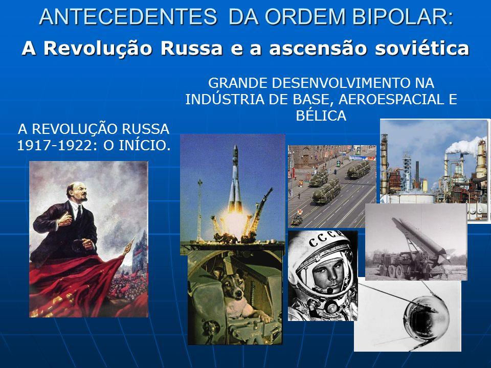ANTECEDENTES DA ORDEM BIPOLAR: A Revolução Russa e a ascensão soviética A REVOLUÇÃO RUSSA 1917-1922: O INÍCIO. GRANDE DESENVOLVIMENTO NA INDÚSTRIA DE
