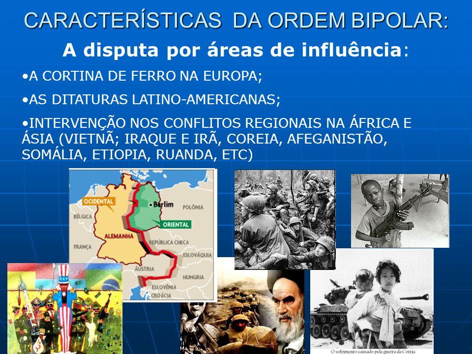 CARACTERÍSTICAS DA ORDEM BIPOLAR: A disputa por áreas de influência: A CORTINA DE FERRO NA EUROPA; AS DITATURAS LATINO-AMERICANAS; INTERVENÇÃO NOS CON