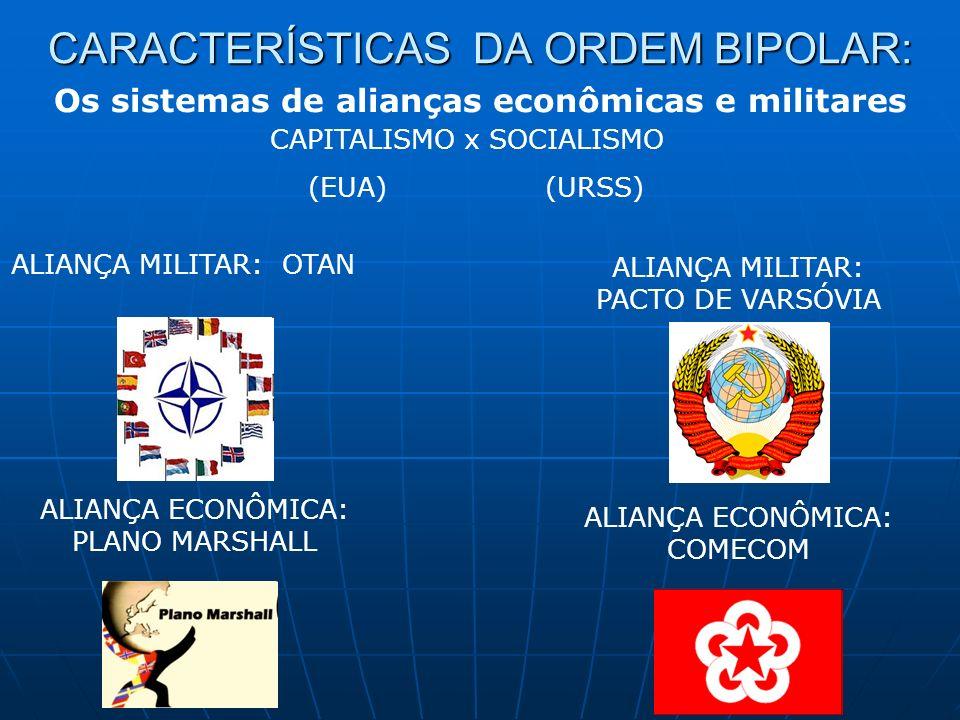 Os sistemas de alianças econômicas e militares CAPITALISMO x SOCIALISMO (EUA) (URSS) ALIANÇA MILITAR: OTAN ALIANÇA MILITAR: PACTO DE VARSÓVIA ALIANÇA