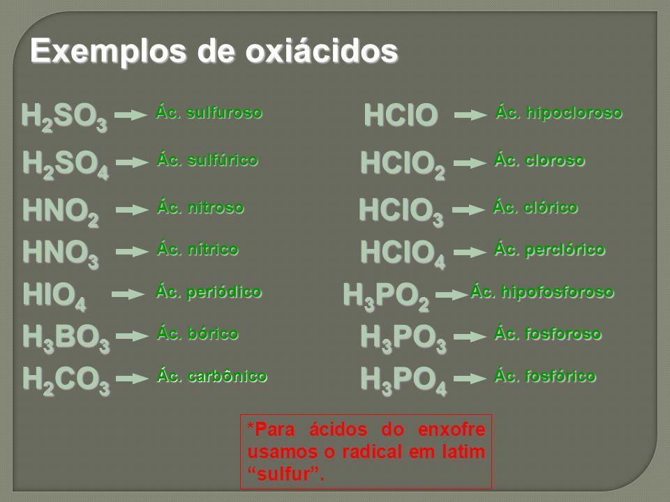 Exemplos de oxiácidos H 2 SO 3 Ác. sulfuroso *Para ácidos do enxofre usamos o radical em latim sulfur. H 2 SO 4 Ác. sulfúrico HNO 2 Ác. nitroso HNO 3