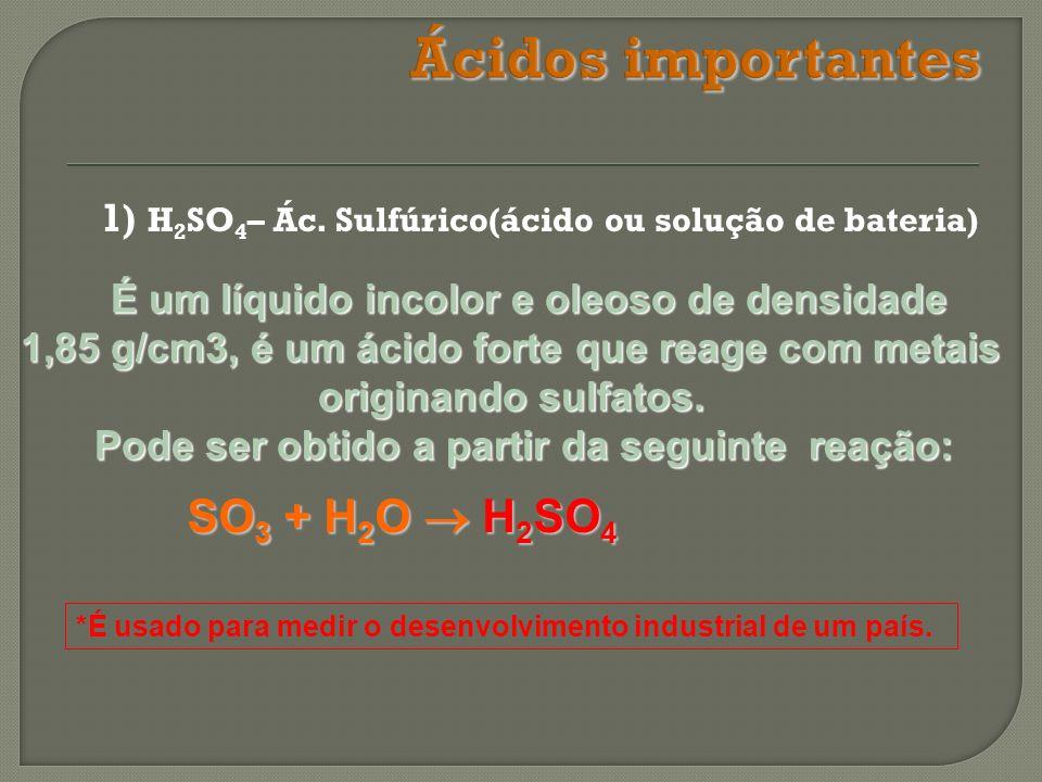 1) H 2 SO 4 – Ác. Sulfúrico(ácido ou solução de bateria) É um líquido incolor e oleoso de densidade É um líquido incolor e oleoso de densidade 1,85 g/