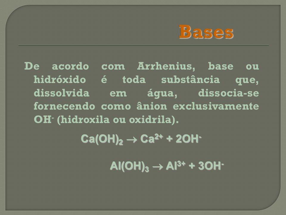 De acordo com Arrhenius, base ou hidróxido é toda substância que, dissolvida em água, dissocia-se fornecendo como ânion exclusivamente OH - (hidroxila