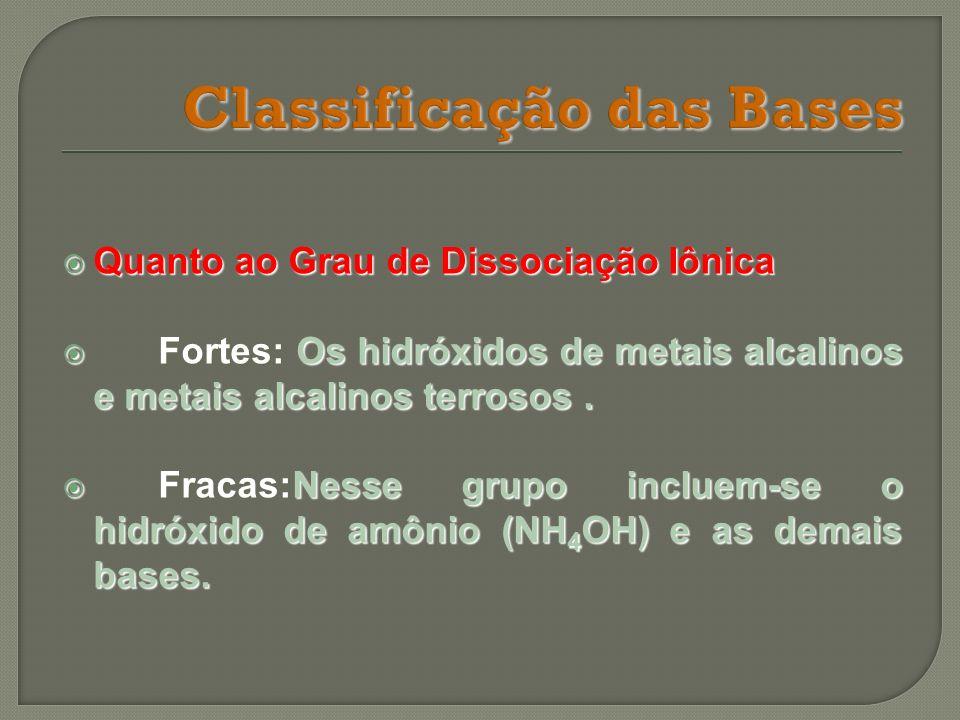 Quanto ao Grau de Dissociação Iônica Quanto ao Grau de Dissociação Iônica Fortes: Os hidróxidos de metais alcalinos e metais alcalinos terrosos. Forte