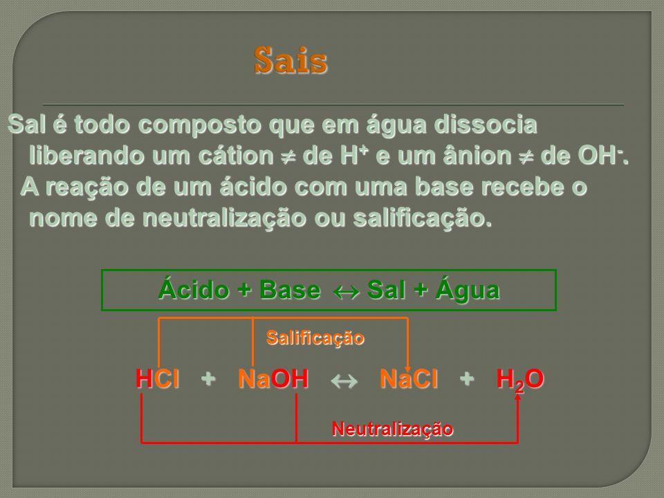 Sal é todo composto que em água dissocia liberando um cátion de H + e um ânion de OH -. A reação de um ácido com uma base recebe o nome de neutralizaç