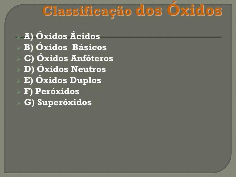 A) Óxidos Ácidos B) Óxidos Básicos C) Óxidos Anfóteros D) Óxidos Neutros E) Óxidos Duplos F) Peróxidos G) Superóxidos