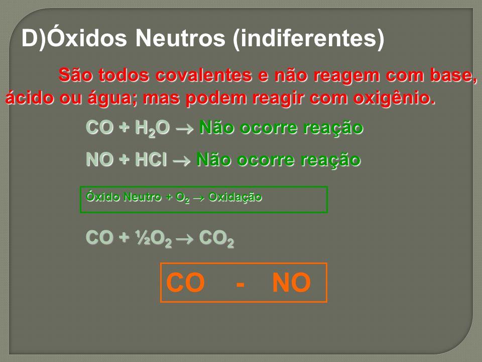 D)Óxidos Neutros (indiferentes) São todos covalentes e não reagem com base, ácido ou água; mas podem reagir com oxigênio. São todos covalentes e não r
