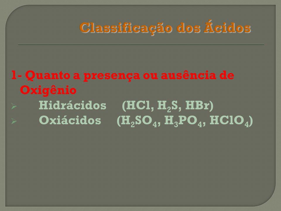 Classificação dos Ácidos Quanto a presença ou ausência de Oxigênio Hidrácidos (HCl, H 2 S, HBr) Oxiácidos (H 2 SO 4, H 3 PO 4, HClO 4 ) Quanto a presença / ausência de Carboxila(-COOH) Orgânicos (CH 3 -COOH, HOOC-COOH) Inorgânicos (H 2 CO 3, H 3 PO 3, HCN)