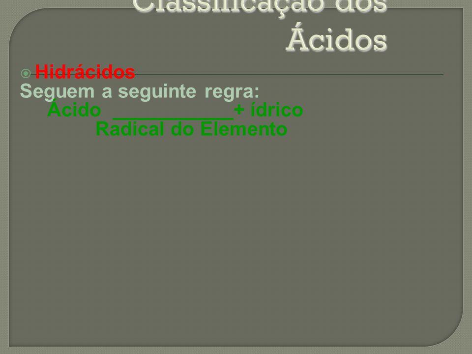 Hidrácidos Seguem a seguinte regra: Ácido + ídrico Radical do Elemento
