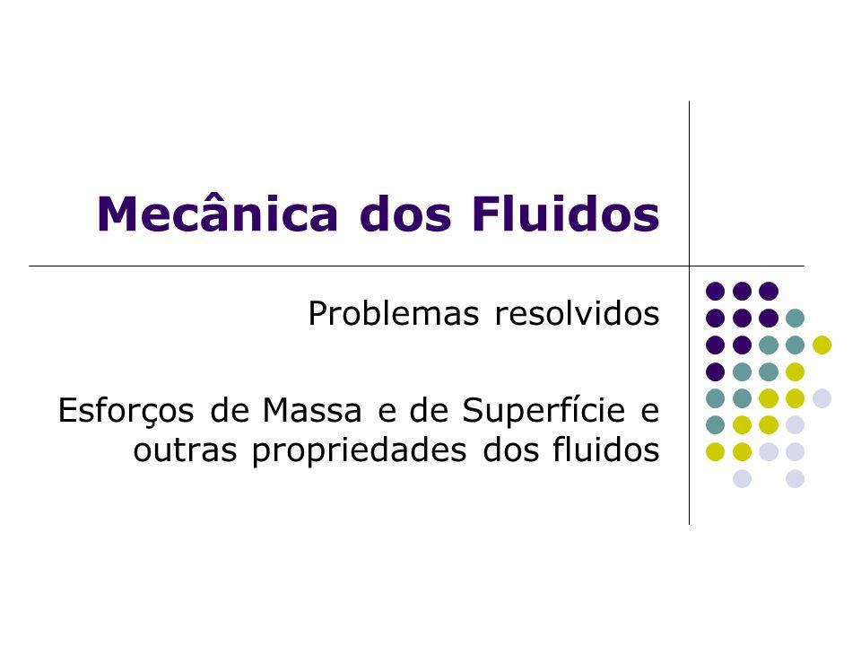 Mecânica dos Fluidos Problemas resolvidos Esforços de Massa e de Superfície e outras propriedades dos fluidos