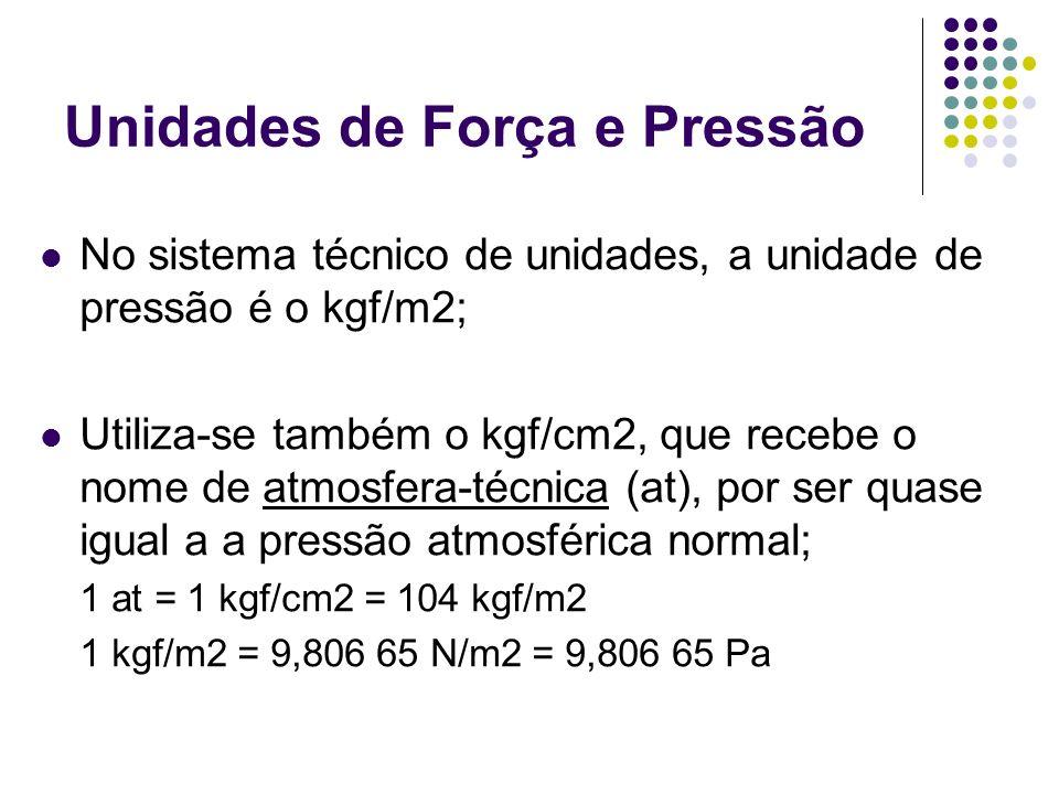 Unidades de Força e Pressão No sistema técnico de unidades, a unidade de pressão é o kgf/m2; Utiliza-se também o kgf/cm2, que recebe o nome de atmosfera-técnica (at), por ser quase igual a a pressão atmosférica normal; 1 at = 1 kgf/cm2 = 104 kgf/m2 1 kgf/m2 = 9,806 65 N/m2 = 9,806 65 Pa