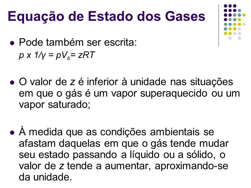 Pode também ser escrita: p x 1/γ = pV s = zRT O valor de z é inferior à unidade nas situações em que o gás é um vapor superaquecido ou um vapor saturado; À medida que as condições ambientais se afastam daquelas em que o gás tende mudar seu estado passando a líquido ou a sólido, o valor de z tende a aumentar, aproximando-se da unidade.