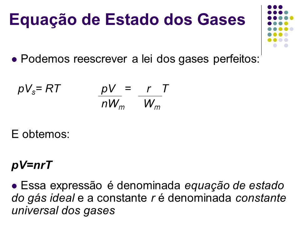 Equação de Estado dos Gases Podemos reescrever a lei dos gases perfeitos: pV s = RT pV = rT nW m W m E obtemos: pV=nrT Essa expressão é denominada equação de estado do gás ideal e a constante r é denominada constante universal dos gases
