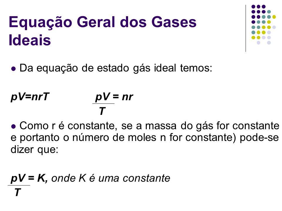 Equação Geral dos Gases Ideais Da equação de estado gás ideal temos: pV=nrTpV = nr T Como r é constante, se a massa do gás for constante ( e portanto o número de moles n for constante) pode-se dizer que: pV = K, onde K é uma constante T