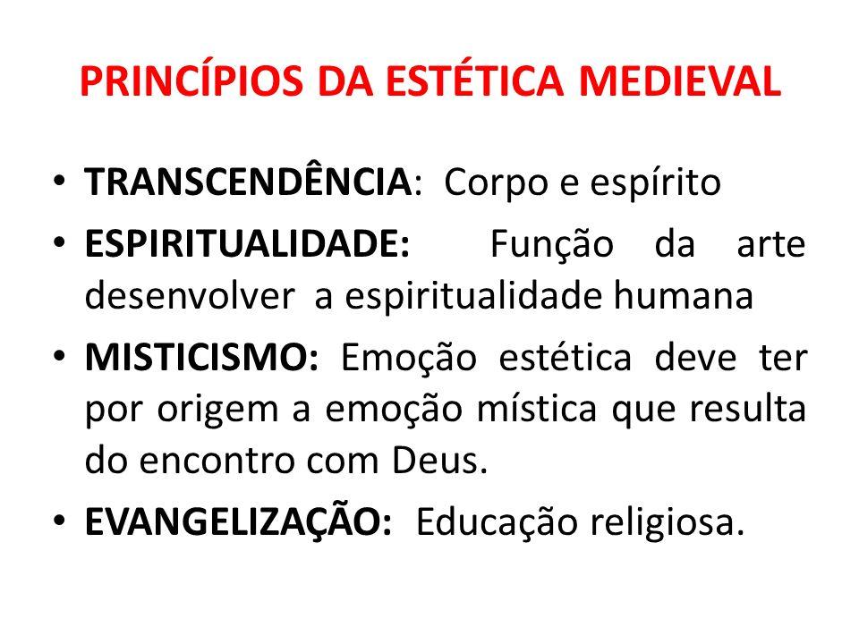 PRINCÍPIOS DA ESTÉTICA MEDIEVAL TRANSCENDÊNCIA: Corpo e espírito ESPIRITUALIDADE: Função da arte desenvolver a espiritualidade humana MISTICISMO: Emoç