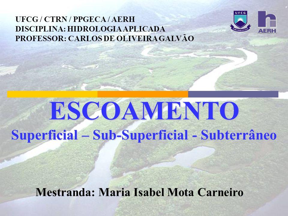 ESCOAMENTO Superficial – Sub-Superficial - Subterrâneo Mestranda: Maria Isabel Mota Carneiro UFCG / CTRN / PPGECA / AERH DISCIPLINA: HIDROLOGIA APLICA