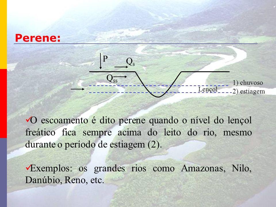 O escoamento é dito perene quando o nível do lençol freático fica sempre acima do leito do rio, mesmo durante o período de estiagem (2). Exemplos: os