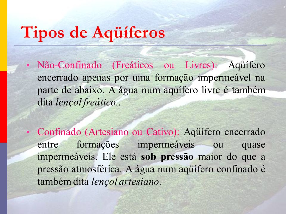 Tipos de Aqüíferos Não-Confinado (Freáticos ou Livres): Aqüífero encerrado apenas por uma formação impermeável na parte de abaixo. A água num aqüífero
