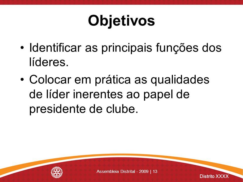 Distrito XXXX Assembleia Distrital - 2009 | 13 Objetivos Identificar as principais funções dos líderes. Colocar em prática as qualidades de líder iner