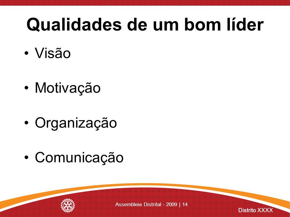 Distrito XXXX Assembleia Distrital - 2009 | 14 Qualidades de um bom líder Visão Motivação Organização Comunicação
