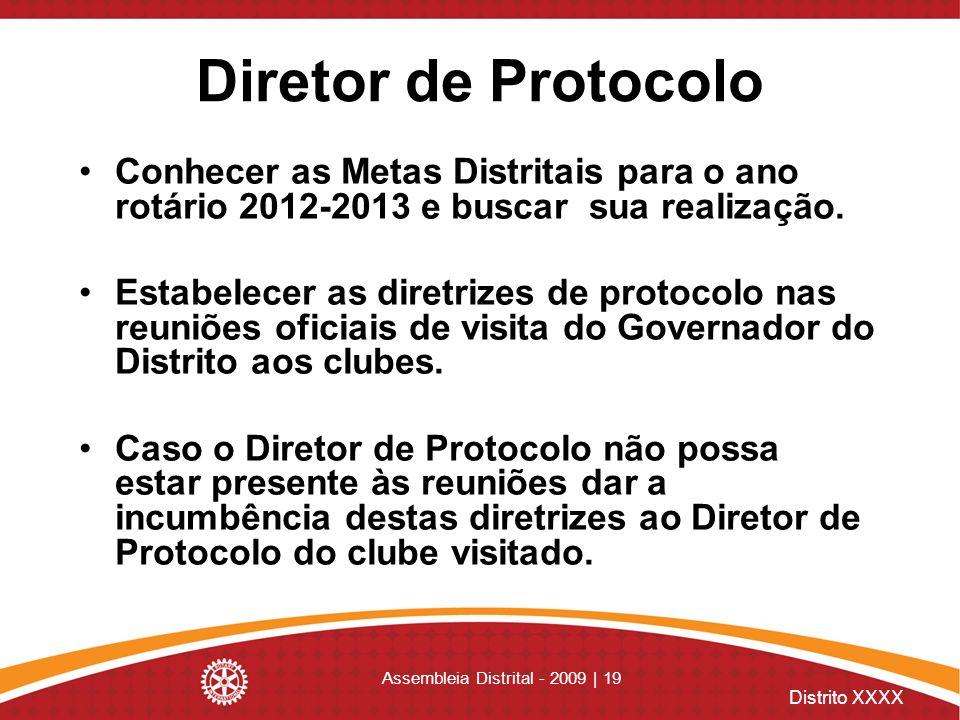 Distrito XXXX Assembleia Distrital - 2009 | 19 Diretor de Protocolo Conhecer as Metas Distritais para o ano rotário 2012-2013 e buscar sua realização.
