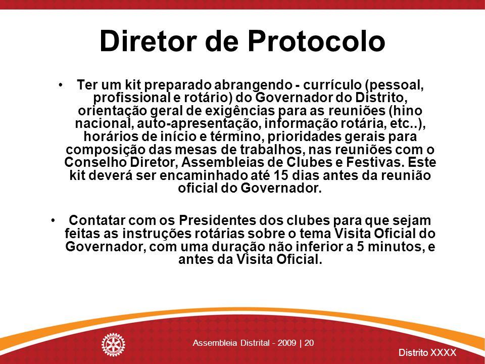 Distrito XXXX Assembleia Distrital - 2009 | 20 Diretor de Protocolo Ter um kit preparado abrangendo - currículo (pessoal, profissional e rotário) do G