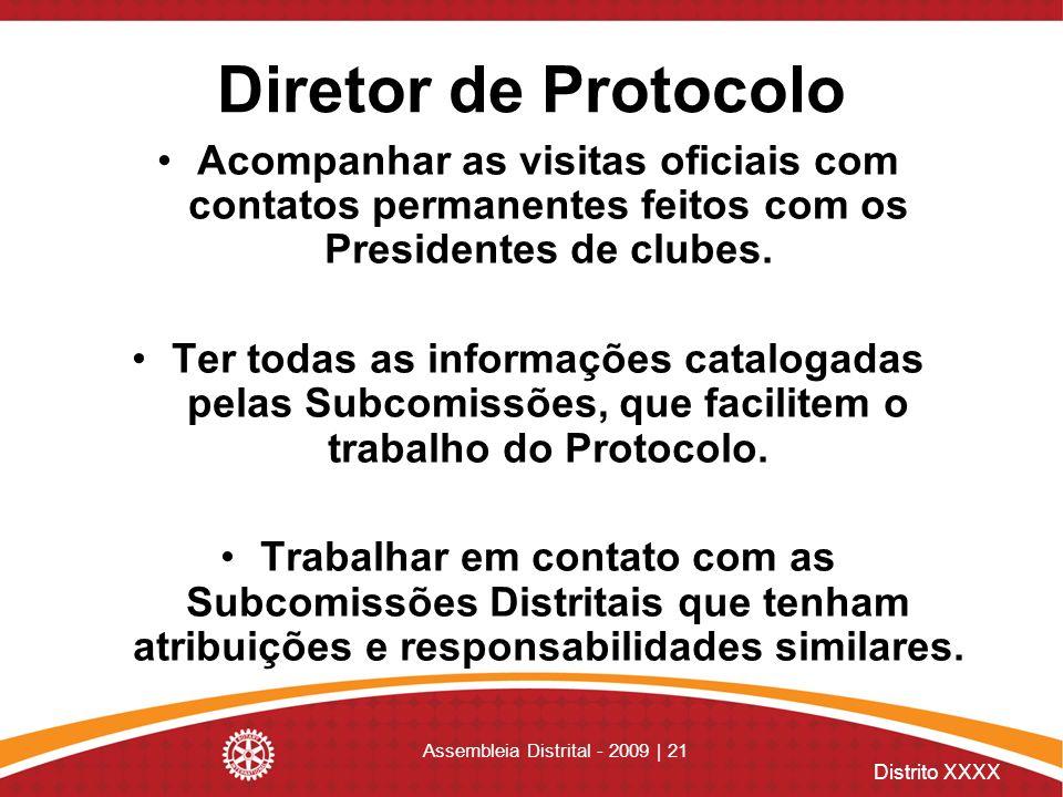 Distrito XXXX Assembleia Distrital - 2009 | 21 Diretor de Protocolo Acompanhar as visitas oficiais com contatos permanentes feitos com os Presidentes