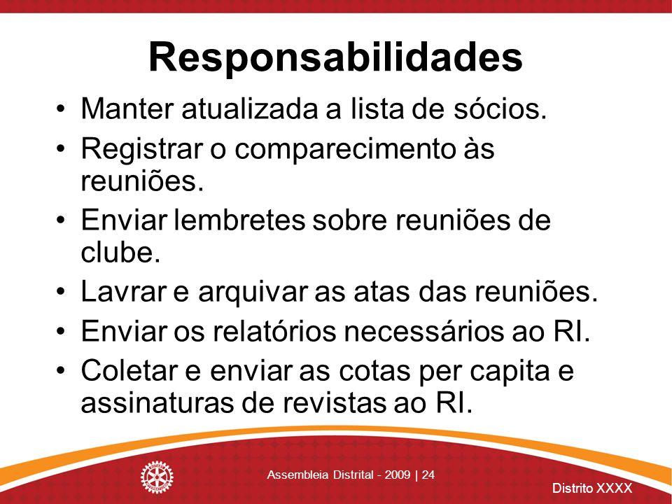 Distrito XXXX Assembleia Distrital - 2009 | 24 Responsabilidades Manter atualizada a lista de sócios. Registrar o comparecimento às reuniões. Enviar l