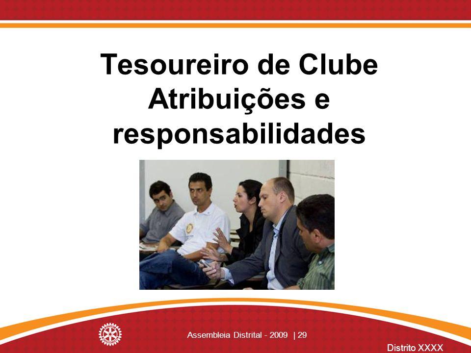 Distrito XXXX Assembleia Distrital - 2009 | 29 Tesoureiro de Clube Atribuições e responsabilidades