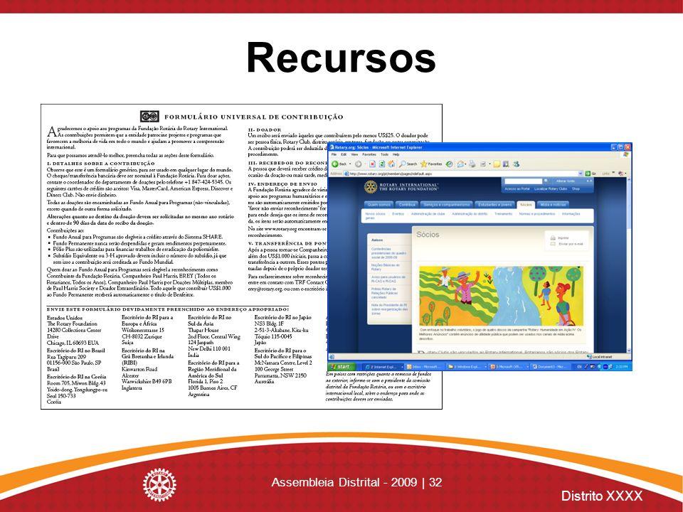 Distrito XXXX Assembleia Distrital - 2009 | 32 Recursos