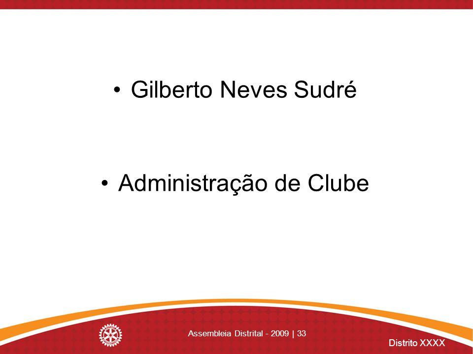 Distrito XXXX Assembleia Distrital - 2009 | 33 Gilberto Neves Sudré Administração de Clube