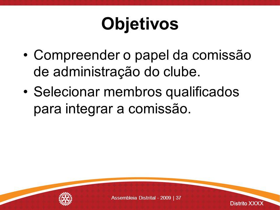 Distrito XXXX Assembleia Distrital - 2009 | 37 Objetivos Compreender o papel da comissão de administração do clube. Selecionar membros qualificados pa