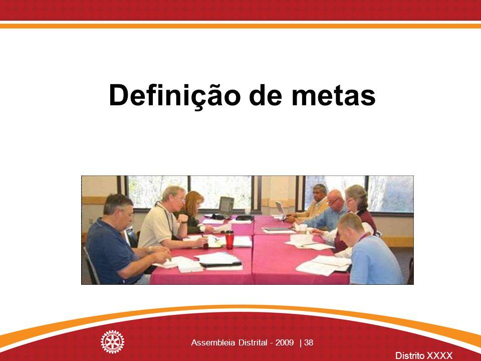 Distrito XXXX Assembleia Distrital - 2009 | 38 Definição de metas