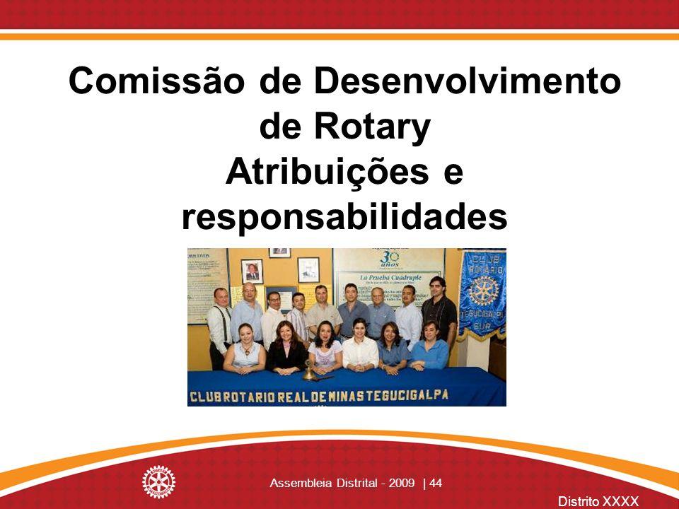 Distrito XXXX Assembleia Distrital - 2009 | 44 Comissão de Desenvolvimento de Rotary Atribuições e responsabilidades