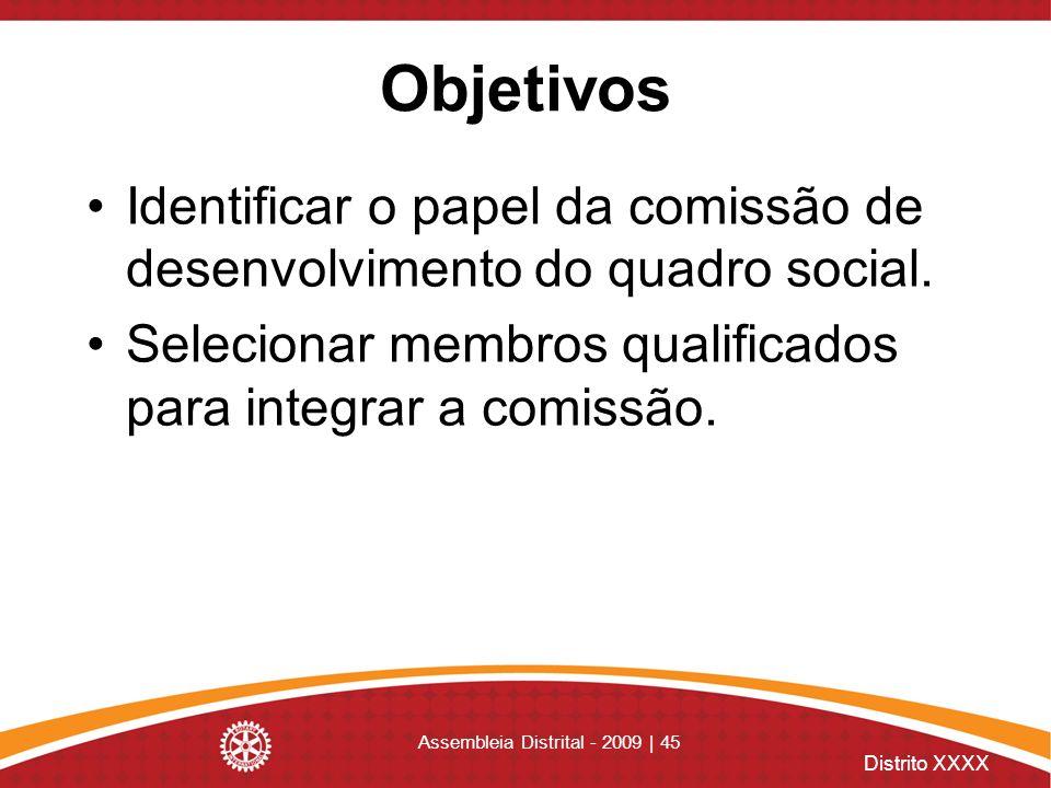 Distrito XXXX Assembleia Distrital - 2009 | 45 Objetivos Identificar o papel da comissão de desenvolvimento do quadro social. Selecionar membros quali